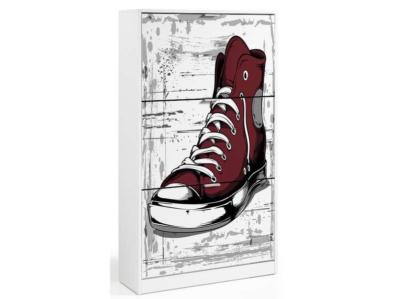 Range chaussures d co avec un jolie voilage - Ranger ses chaussures dans un petit espace ...